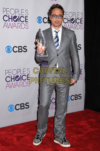 Robert Downey Jr..People's Choice Awards 2013 - Press Room held at Nokia Theatre L.A. Live, Los Angeles, California, USA..January 9th, 2013.full length blue white black grey gray shirt tie suit tinted glasses stubble facial hair award trophy winner  .CAP/ADM/BP.©Byron Purvis/AdMedia/Capital Pictures.