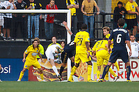 24 OCTOBER 2010:  Columbus Crew goalkeeper William Hesmer (1) makes a save but is injured on the play during MLS soccer game against the Philadelphia Union at Crew Stadium in Columbus, Ohio on August 28, 2010.