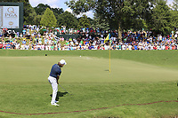 Tommy Fleetwood (ENG) 2nd chip onto the 18th green during Saturday's Round 3 of the 2017 PGA Championship held at Quail Hollow Golf Club, Charlotte, North Carolina, USA. 12th August 2017.<br /> Picture: Eoin Clarke | Golffile<br /> <br /> <br /> All photos usage must carry mandatory copyright credit (&copy; Golffile | Eoin Clarke)