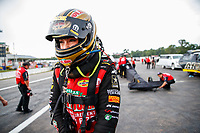 Aug 18, 2017; Brainerd, MN, USA; NHRA top fuel driver Leah Pritchett during qualifying for the Lucas Oil Nationals at Brainerd International Raceway. Mandatory Credit: Mark J. Rebilas-USA TODAY Sports