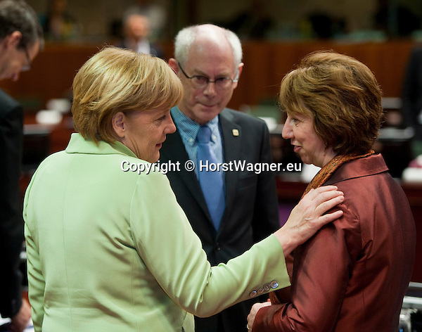 Brussels-Belgium - June 28, 2013 -- European Council, EU-summit, meeting of Heads of State / Government; here, Angela MERKEL (le), Federal Chancellor of Germany, with Herman Van ROMPUY (ce), President of the European Council, and Catherine ASHTON (ri), High Representative of the Union for Foreign Affairs & Security Policy/Vice-President of the European Commission -- Photo: © HorstWagner.eu