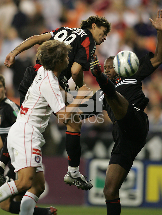 9 April 2005.  DC United's Jaime Moreno (99) tries to head the ball into the net while defender by Jesse Marsch (15) of Chicago at RFK Stadium in Washington, DC.