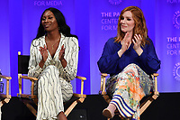 "HOLLYWOOD, CA - MARCH 23: Dominique Jackson and Our Lady J. at PaleyFest 2019 for FX's ""Pose"" panel at the Dolby Theatre on March 23, 2019 in Hollywood, California. (Photo by Vince Bucci/FX/PictureGroup)"
