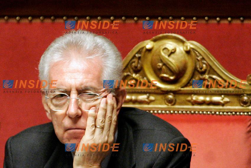 MARIO MONTI.Roma 05/12/2011 SENATO. Intervento del Premier sulla Manovra Economica..Photo Samantha Zucchi Insidefoto