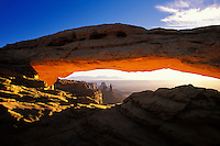 Looking through Mesa Arch, Canyonlands National Park, Utah, USA.