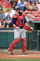 Pawtucket Red Sox catcher Dan Butler (12) during a game against the Buffalo Bisons on August 26, 2014 at Coca-Cola Field in Buffalo, New  York.  Pawtucket defeated Buffalo 9-3.  (Mike Janes/Four Seam Images)