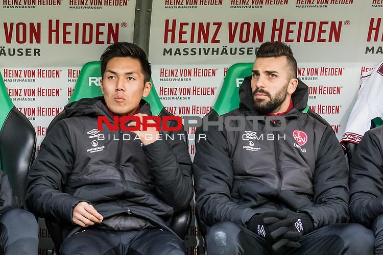 09.02.2019, HDI Arena, Hannover, GER, 1.FBL, Hannover 96 vs 1. FC Nuernberg<br /> <br /> DFL REGULATIONS PROHIBIT ANY USE OF PHOTOGRAPHS AS IMAGE SEQUENCES AND/OR QUASI-VIDEO.<br /> <br /> im Bild / picture shows<br /> Ersatzbank 1. FC Nürnberg, <br /> Yuya Kubo (Nuernberg #14), Mikael Ishak (Nuernberg #09), <br /> <br /> Foto © nordphoto / Ewert