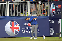 Alexander Levy (FRA) on the 1st tee during Round 3 of the Sky Sports British Masters at Walton Heath Golf Club in Tadworth, Surrey, England on Saturday 13th Oct 2018.<br /> Picture:  Thos Caffrey | Golffile<br /> <br /> All photo usage must carry mandatory copyright credit (&copy; Golffile | Thos Caffrey)