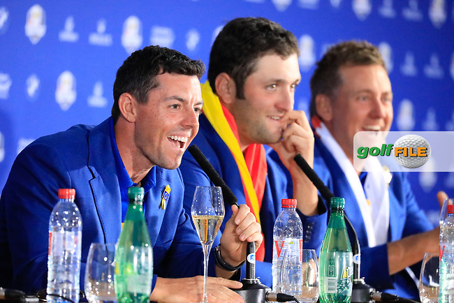 Rory McIlroy (Team Europe) during media interview after the sunday singles at the Ryder Cup, Le Golf National, Paris, France. 30/09/2018.<br /> Picture Phil Inglis / Golffile.ie<br /> <br /> All photo usage must carry mandatory copyright credit (© Golffile   Phil Inglis)