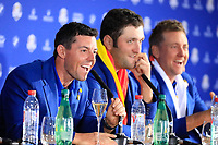Rory McIlroy (Team Europe) during media interview after the sunday singles at the Ryder Cup, Le Golf National, Paris, France. 30/09/2018.<br /> Picture Phil Inglis / Golffile.ie<br /> <br /> All photo usage must carry mandatory copyright credit (&copy; Golffile | Phil Inglis)