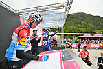 Luxembourg Champion Bob Jungels (LUX) Deceuninck-Quick Step at sign on before Stage 17 of the 2019 Giro d'Italia, running 181km from Commezzadura (Val di Sole) to Anterselva / Antholz, Italy. 29th May 2019<br /> Picture: Massimo Paolone/LaPresse | Cyclefile<br /> <br /> All photos usage must carry mandatory copyright credit (© Cyclefile | Massimo Paolone/LaPresse)