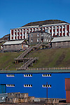 Old and new buildings, and the 220 steps of Barentsburg, a Russian coal mining town in the Norwegian Archipelego of Svalbard. Once home to about 2000 miners and their families, less than 500 people now live here.