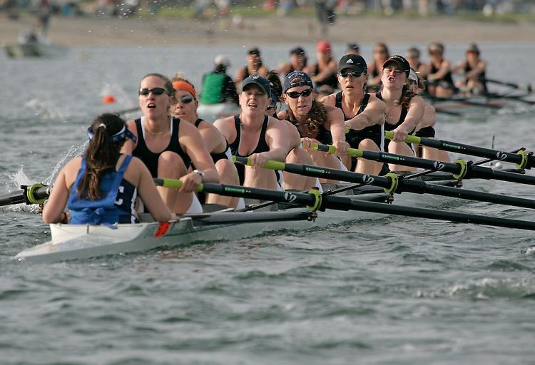 Rowing, Lake Washington Rowing Club women's A eight, San Diego Crew Classic, Mission Bay, San Diego, California, U.S.A., model released,.