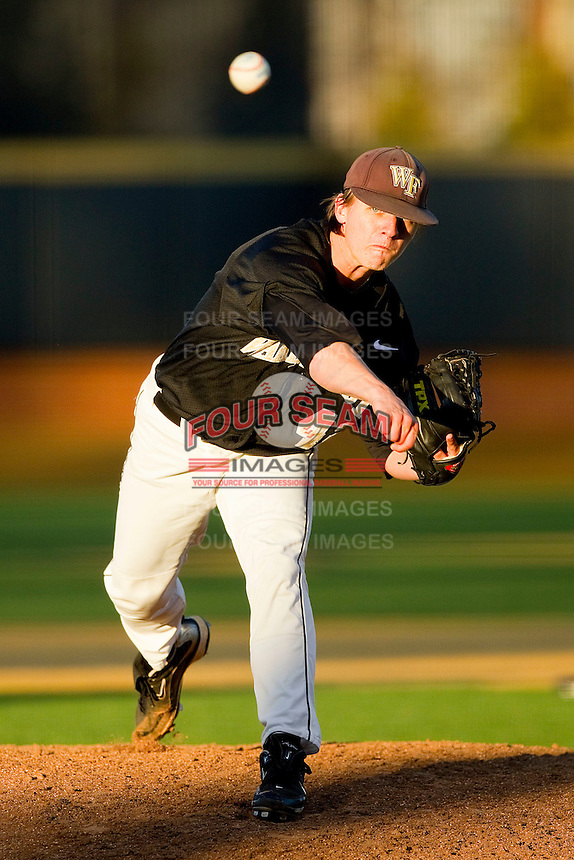 Wake Forest Demon Deacons relief pitcher Nate Jones #42 in action against the Maryland Terrapins at Wake Forest Baseball Park on March 10, 2012 in Winston-Salem, North Carolina.  (Brian Westerholt/Sports On Film)