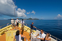 Seychelles, Island La Digue: boat transfer to Island Praslin (Background)<br />