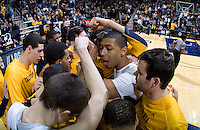 Richard Solomon of California talks with his teammates before the game against Stanford at Haas Paviliion in Berkeley, California on March 6th, 2013.  Stanford defeated California, 83-70.