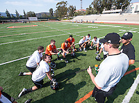 Football practice, Aug. 17, 2012, on Patterson Field. (Photo by Marc Campos, Occidental College Photographer)