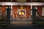 Christmas decorations around a gated business in Fort Worth Texas