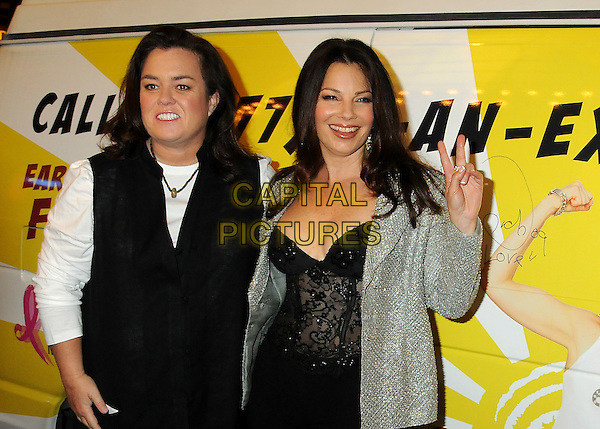"ROSIE O'DONNELL & FRAN DRESCHER .""The Million Dollar Revival"" Benefit for Fran Drescher's Cancer Schmancer Charity Movement held at the Million Dollar Theatre, Los Angeles, California, USA..December 13th, 2009.half length black white grey gray jacket top corset lace sleeveless hand v peace sign silver jewel encrusted embellished sparkly.CAP/ADM/BP.©Byron Purvis/AdMedia/Capital Pictures."