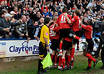 Clarke Keltie of Darlington is mobbed after scoring the first goal during the League Two playoff match at The Spotland, Stadium, Rochdale. Picture date 10th May 2008. Picture credit should read: Simon Bellis/Sportimage