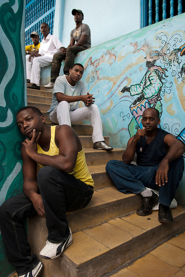 A percussion group having a break outside the Museo del Carnaval in Santiago de Cuba.