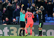 9th December 2017, Selhurst Park, London, England; EPL Premier League football, Crystal Palace versus Bournemouth; Bournemouth Goalkeeper Asmir Begovic receives a yellow card off Referee Kevin Friend for rough challenge