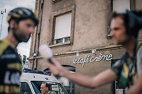 Tom Leezer (NED/LottoNL-Jumbo) interviewed in front of Le Café Crème after the stage<br /> <br /> 104th Tour de France 2017<br /> Stage 3 - Verviers › Longwy (202km)