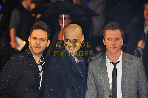 "Scott Robinson, Sean Conlon & Ritchie Neville of '5ive'.The ""G.I. Joe 2: Retaliation"" UK film premiere, Empire cinema, Leicester Square, London, England..March 18th, 2013.half length black blue grey gray white suit jacket shirt tie band group.CAP/MAR.© Martin Harris/Capital Pictures."