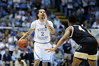 CHAPEL HILL, NC - MARCH 03: Cole Anthony #2 of the University of North Carolina runs the offense during a game between Wake Forest and North Carolina at Dean E. Smith Center on March 03, 2020 in Chapel Hill, North Carolina.