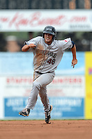 Mahoning Valley Scrappers shortstop James Roberts (48) during a game against the Batavia Muckdogs on September 1, 2013 at Dwyer Stadium in Batavia, New York.  Mahoning Valley defeated Batavia 6-0 behind a no-hitter.  (Mike Janes/Four Seam Images)