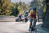 Alejandro Valverde (ESP/Movistar) in the last 2km on his way to becoming the new World Champion<br /> <br /> MEN ELITE ROAD RACE<br /> Kufstein to Innsbruck: 258.5 km<br /> <br /> UCI 2018 Road World Championships<br /> Innsbruck - Tirol / Austria