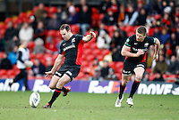 Photo: Richard Lane/Richard Lane Photography. Saracens v Biarritz. Heineken Cup. 15/01/2012. Saracens' Charlie Hodgson kicks.