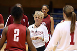 21 March 2014: Oklahoma head coach Sherri Coale talks to her team. The University of Oklahoma Sooners held a training session the day before playing in an NCAA Division I Women's Basketball Tournament First Round game at Cameron Indoor Stadium in Durham, North Carolina.