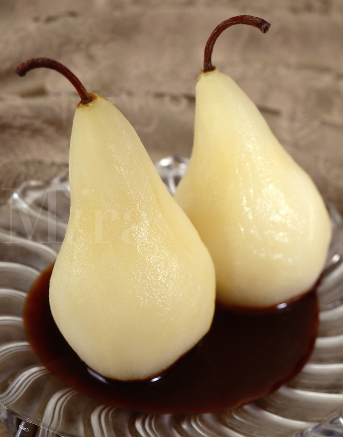 White Wine Poached Pear with Chocolate Sauce