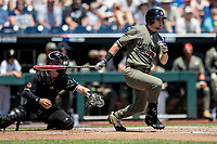 Vanderbilt Commodores outfielder JJ Bleday (51) follows through on his swing against the Louisville Cardinals in the NCAA College World Series on June 16, 2019 at TD Ameritrade Park in Omaha, Nebraska. Vanderbilt defeated Louisville 3-1. (Andrew Woolley/Four Seam Images)