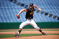 Maryland Terrapins relief pitcher Tayler Stiles (25) delivers a pitch during a game against the Alabama State Hornets on February 19, 2017 at Spectrum Field in Clearwater, Florida.  Maryland defeated Alabama State 9-7.  (Mike Janes/Four Seam Images)