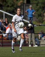 Boston College forward Stephanie McCaffrey (9) brings the ball forward. Boston College defeated University of Virginia, 2-0, at the Newton Soccer Field, on September 18, 2011.