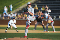 North Carolina State Wolfpack starting pitcher Dalton Feeney (19) in action against the Wake Forest Demon Deacons at David F. Couch Ballpark on April 18, 2019 in  Winston-Salem, North Carolina. The Demon Deacons defeated the Wolfpack 7-3. (Brian Westerholt/Four Seam Images)
