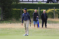 Brandon Wu (USA) on the 5th during the Foursomes at the Walker Cup, Royal Liverpool Golf CLub, Hoylake, Cheshire, England. 07/09/2019.<br /> Picture Thos Caffrey / Golffile.ie<br /> <br /> All photo usage must carry mandatory copyright credit (© Golffile | Thos Caffrey)