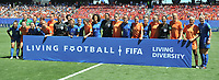 """20190629 - VALENCIENNES , FRANCE : both teams supporting a FIFA action  """"Living diversity"""" pictured before the female soccer game between Italy  - Squadra Azzurrine - and The Netherlands  – Oranje Leeuwinnen - , a knock out game in the quarter finals of the FIFA Women's  World Championship in France 2019, Saturday 29 th June 2019 at the Stade du Hainaut Stadium in Valenciennes , France .  PHOTO SPORTPIX.BE 