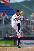 Binghamton Rumble Ponies relief pitcher Ben Griset (28) delivers a pitch during a game against the Hartford Yard Goats on July 9, 2017 at NYSEG Stadium in Binghamton, New York.  Hartford defeated Binghamton 7-3.  (Mike Janes/Four Seam Images)