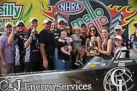 Apr. 28, 2013; Baytown, TX, USA: NHRA top fuel dragster driver Bob Vandergriff Jr celebrates with his crew after winning the Spring Nationals at Royal Purple Raceway. Mandatory Credit: Mark J. Rebilas-