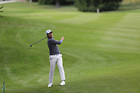 Nino Bertasio (ITA) plays his 2nd shot on the 9th hole during Sunday's Final Round of the 2017 Omega European Masters held at Golf Club Crans-Sur-Sierre, Crans Montana, Switzerland. 10th September 2017.<br /> Picture: Eoin Clarke | Golffile<br /> <br /> <br /> All photos usage must carry mandatory copyright credit (&copy; Golffile | Eoin Clarke)