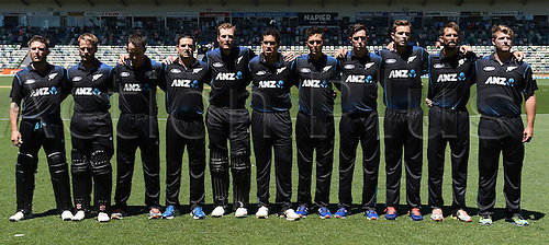 03.02.2015. Napier, New Zealand.  NZ team line up for the national anthem. ANZ One Day International Cricket Series. Match 2 between New Zealand Black Caps and Pakistan at McLean Park in Napier, New Zealand.
