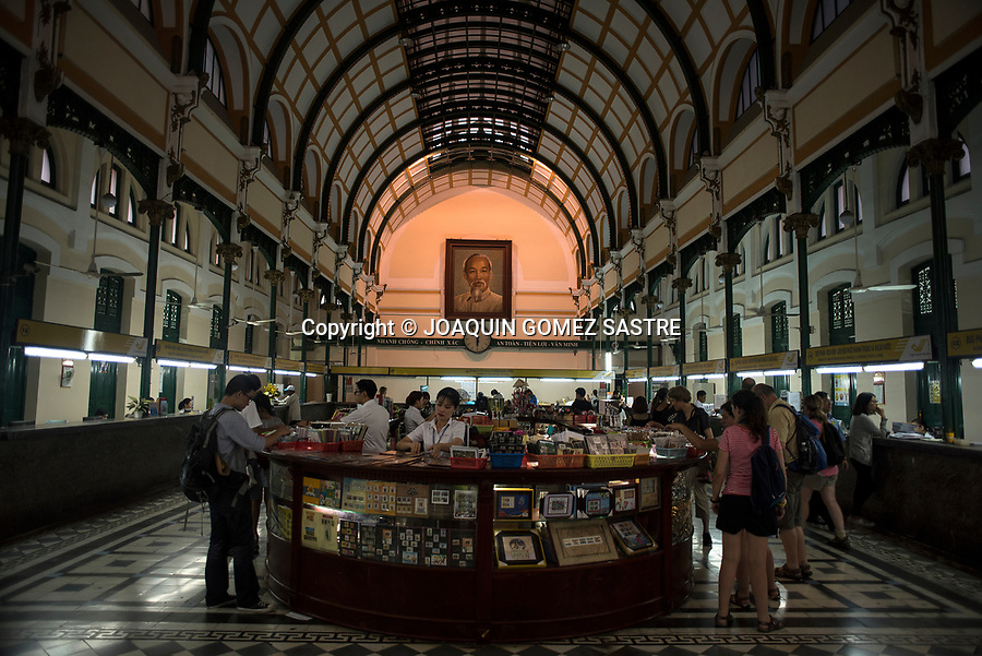 Interior of Ho Chi Minh City Central Post Office, The name it receives in the Vietnamese language is Bưu điện trung t&acirc;m, and was built at the end of the 19th century (from 1886 to 1891) by Gustave Eiffel himself, The same architect in charge of the construction of the Eiffel tower of Paris.<br /> HO CHI MINH-VIETNAM