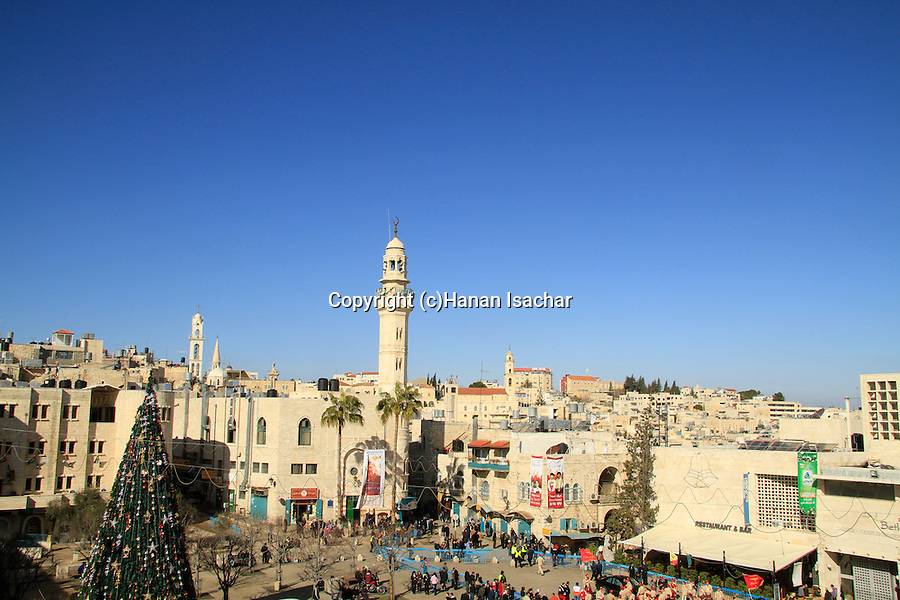 Bethlehem, Christmas celebration in Manger Square, a view from the Church of the Nativity