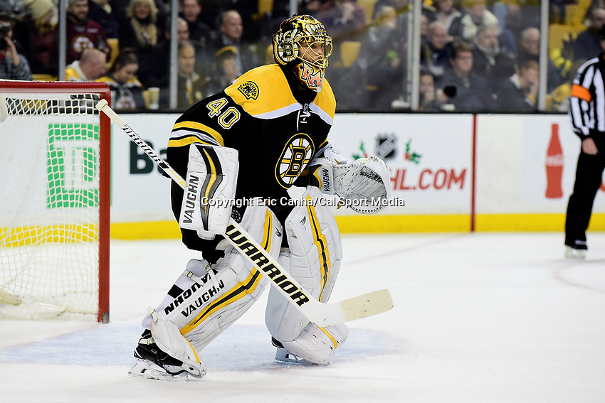 Boston Bruins goalie Tuukka Rask (40) in game action during the National Hockey League game between the Tampa Bay Lightning and the Boston Bruins held at TD Garden, in Boston, Mass. Boston defeats Tampa Bay 4-1. Eric Canha/CSM