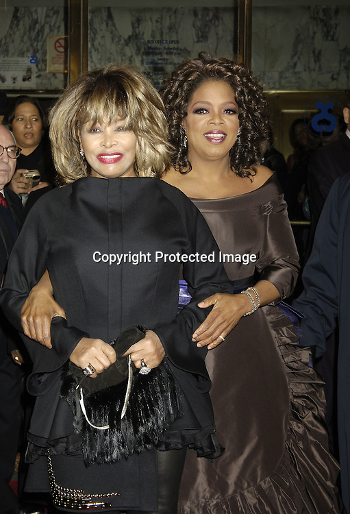 """Tina Turner and Oprah Winfrey ..arriving at the Broadway opening of """"The Color Purple"""" ..produced by Oprah Winfrey on December 1, 2005 ..at The Broadway Theatre...Photo by Robin Platzer, Twin Images"""