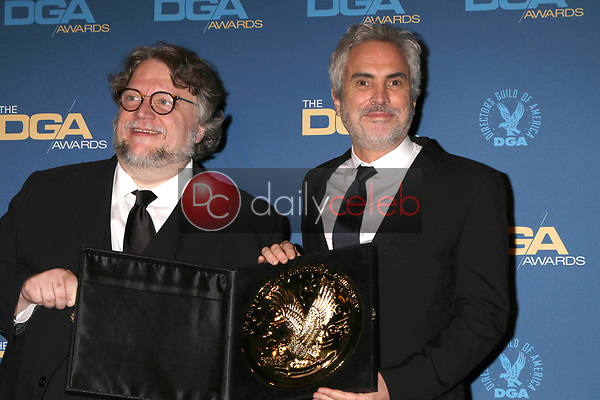Guillermo del Toro, Alfonso Cuaron<br /> at the 71st Annual Directors Guild Of America Awards Press Room, Dolby Ballroom, Hollywood, CA 02-02-19<br /> David Edwards/DailyCeleb.com 818-249-4998