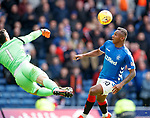 05.05.2019 Rangers v Hibs: Alfredo Morelos tries to lob Ofir Marciano who gets his fingertips to it